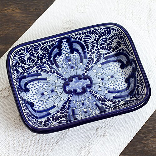 NOVICA-Blue Floral Ceramic Serving Bowl - Puebla Kaleidoscope