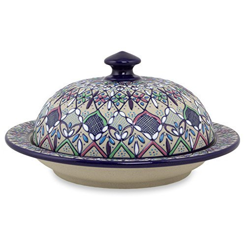 NOVICA-Multicolor Ceramic Covered Serving Dish -Valenciana Violets