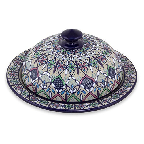 NOVICA-Multicolor Ceramic Covered Serving Dish -Valenciana Violets