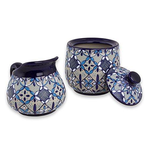 NOVICA-Beige and Blue Floral Ceramic Sugar Bowl and Creamer - Blue Bajio