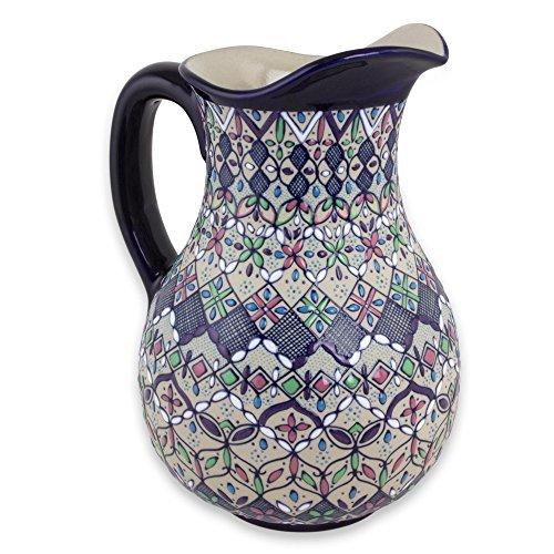 NOVICA-Multicolor Floral Ceramic Pitcher - Valenciana Violets