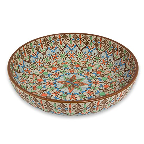 NOVICA-Multicolor Geometric Ceramic Bowl - Aztec Autumn