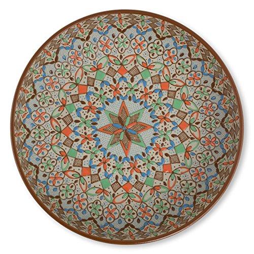 NOVICA-Multicolor Geometric Ceramic Bowl - Aztec Autumn