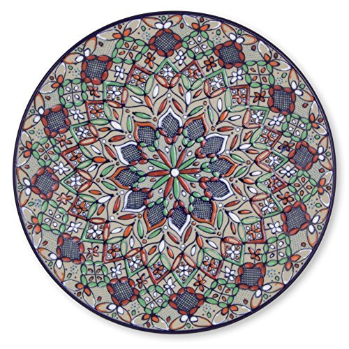 NOVICA-Multicolor Ceramic Floral Decorative Plate - Guanajuato Festivals