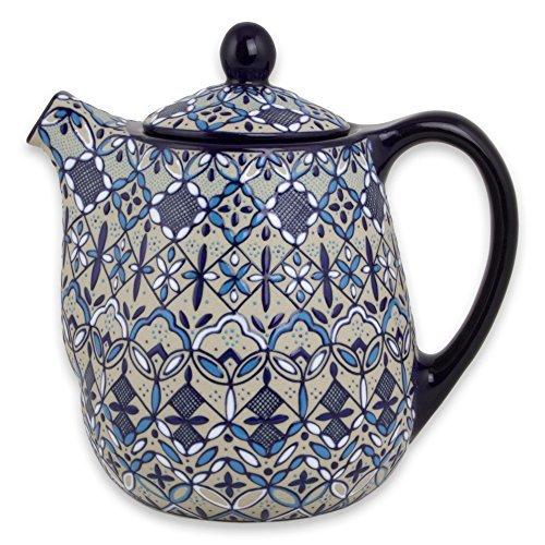 NOVICA-Beige and Blue Floral Ceramic Coffee Pot