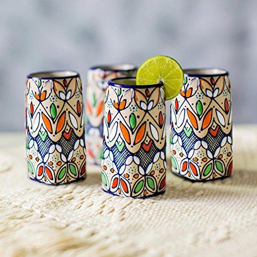 NOVICA-Set of 4 Multicolor Floral Ceramic Shot Glasses - Guanajuato Festivals