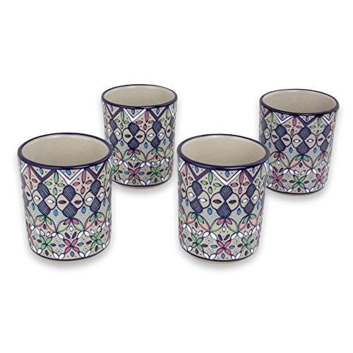 NOVICA-Set of 4 Multicolor Floral Ceramic Tumblers