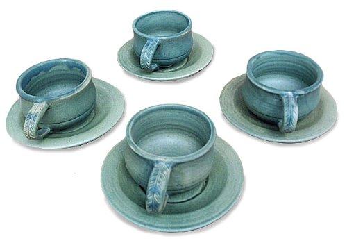 NOVICA-Set of 4 Decorative Ceramic Cups & Saucers - Bali Forest