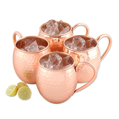 NOVICA-Handcrafted Hammered Copper Moscow Mule Mugs- Set of 4