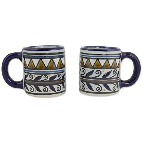 NOVICA-Beige and Blue Ceramic Mugs & Cups - Puerto Escondido