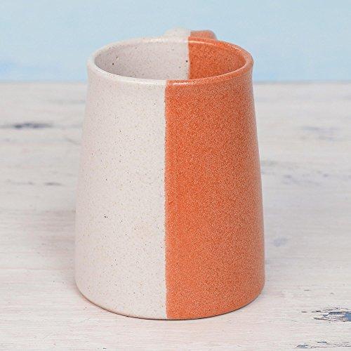 NOVICA-Beige and Orange Ceramic Mug