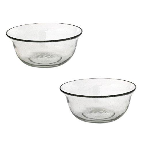 NOVICA-Hand Blown Grey Glass Bowls - Bubble