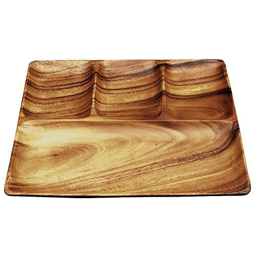 Pacific Merchants Trading-Acacia Wood Square 4-Part Divided Serving Tray