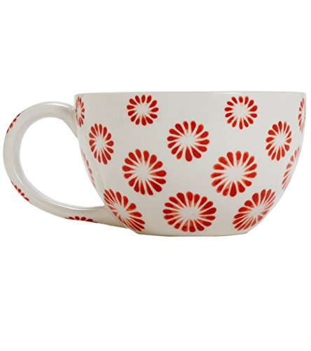 Ten Thousand Villages-Large Hand Painted Cup 'Lucky Suns Oversized Cappuccino Mug'