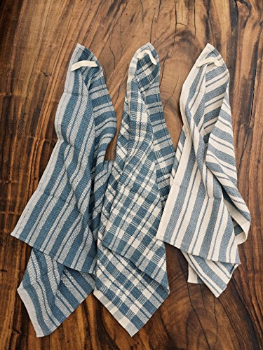 The Conscious Home- Set of 3 Kitchen Towels Upcycled Cotton and Denim