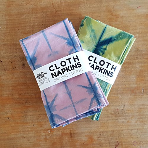 Chloe Derderian Gilbert-Organic Hand Dyed Shibori Cloth Napkins in Quebracho and Indigo