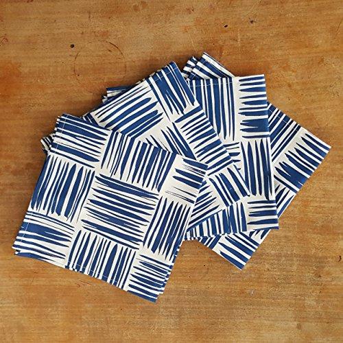 Chloe Derderian Gilbert-Organic Cotton Brushstroke Pattern Cloth Napkins - Indigo