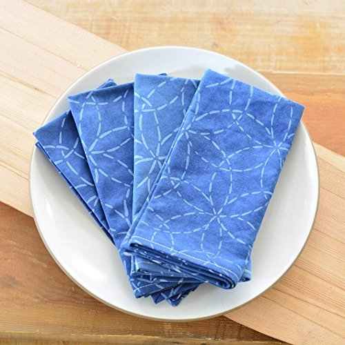 Chloe Derderian Gilbert-Organic Cotton Mitsuba Sashiko Pattern Cloth Napkins in Indigo