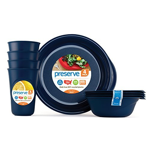 Preserve-Everyday Tableware Set: Four Plates, Four Bowls and Four Cups