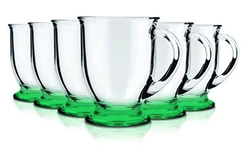 Anchor Hocking-Set of 6 Glass Coffee Mugs 16 oz