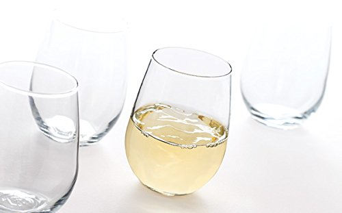 Anchor Hocking-Set of 4 Vienna Stemless White Wine Glasses 15 oz