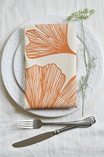 Hearth and Harrow-Set of 4  Cloth Dinner Napkins- Yellow Ginkgo Leaf Design
