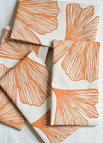 Hearth and Harrow-Set of 4  Cloth Dinner Napkins- Yellow Ginkgo Leaf Design