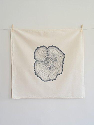 Hearth and Harrow-Tree Ring Flour Sack Towel in Grey - Tea Towel