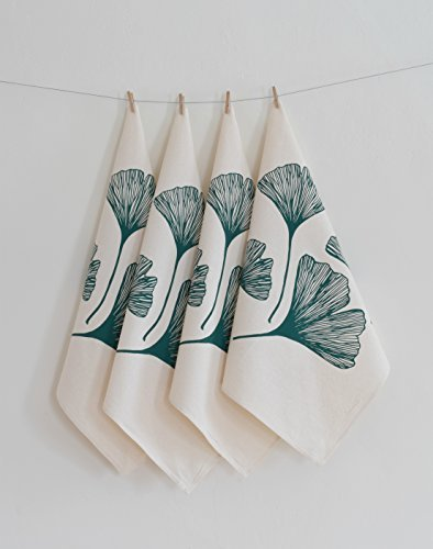 Hearth and Harrow-Set of 4  Cloth Dinner Napkins - Dark Green Ginkgo Leaf Design