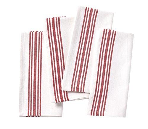 Coyuchi-Set fo 4 Organic Napkin - Alpine White w/Crimson
