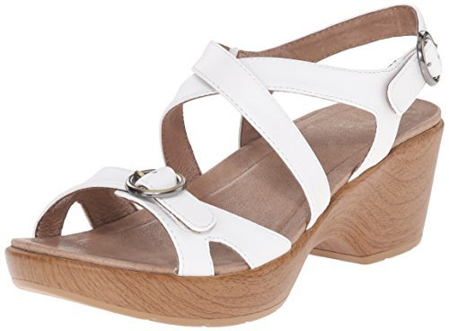 Dansko-Dansko Women's Julie Wedge Sandal, White Leather, 40 EU/9.5-10 M US