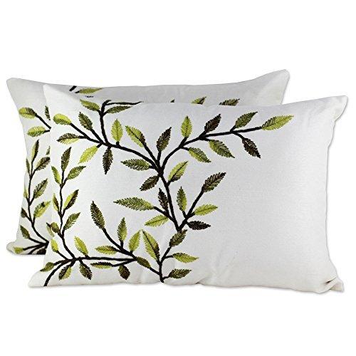 NOVICA- Ivory Beach Cottage Throw Pillow Cover