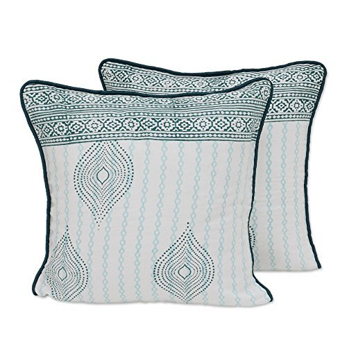 NOVICA-Green and Ivory Cotton Throw Pillow Cover
