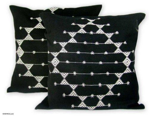 NOVICA-NOVICA Geometric Black & White Black Cotton Throw Pillow Covers