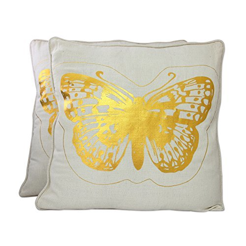 NOVICA-Set of 2 Printed Gold and White Butterfly Cushion Covers - Golden Butterflies