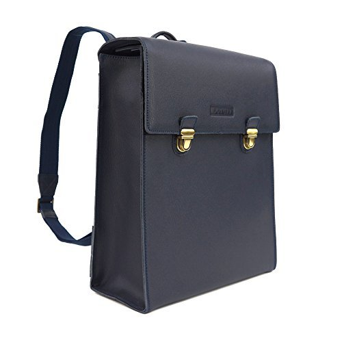 LOTUFF-Leather Backpack Rucksack Camera Bag - Navy