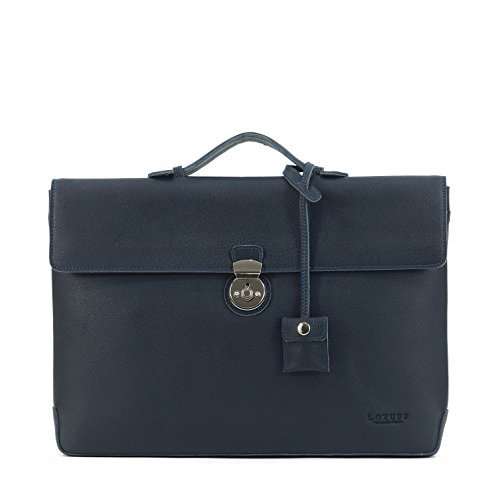 LOTUFF-Leather Dandy Slim Briefcase - Navy