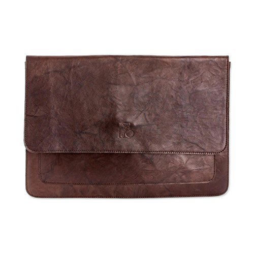 NOVICA-Leather Portfolio Bag - Brown