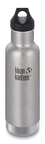 Klean Kanteen-Klean Kanteen 20oz Classic Stainless Steel Water Bottle with Klean Coat, Double Wall Vacuum Insulated and Leak Proof Loop Cap - Shale Black (NEW 2018)