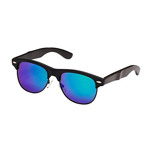 Blue Planet-JULIAN Matte Black / Black Bamboo Green Mirror Polarized Lens