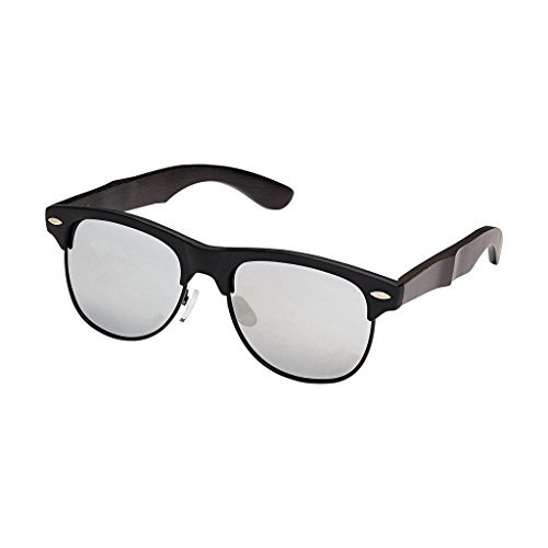 Blue Planet-JULIAN Matte Black / Black Bamboo Silver Mirror Polarized Lens