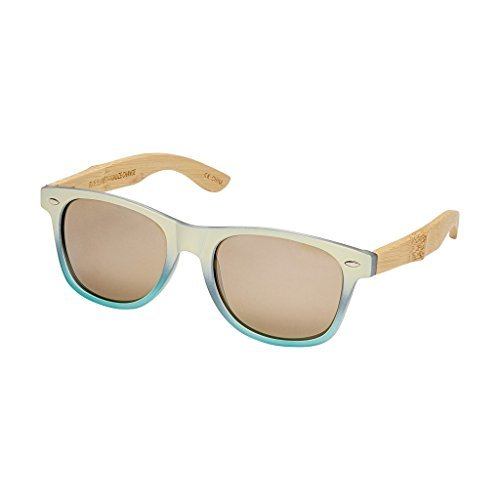 Blue Planet-PACIFIC Frost Ivory to Turquoise Fade Natural Bamboo Brown Flash Mirror Lens