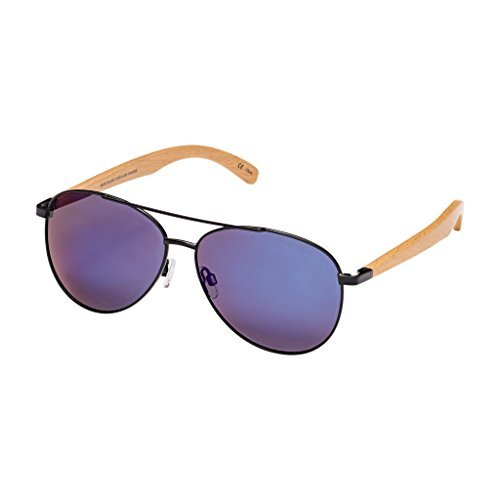 Blue Planet-AMADOR Black Natural Beechwood Blue Mirror Polarized Lens