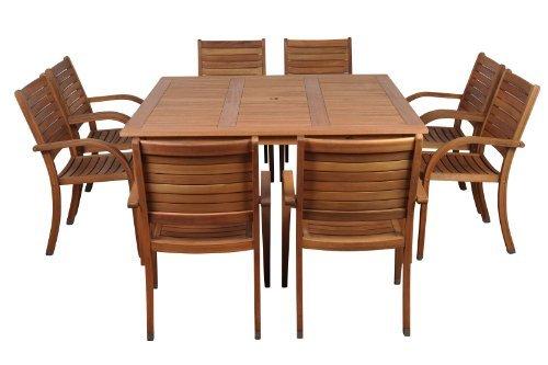 Amazonia-Arizona 9-Piece Eucalyptus Square Dining Set