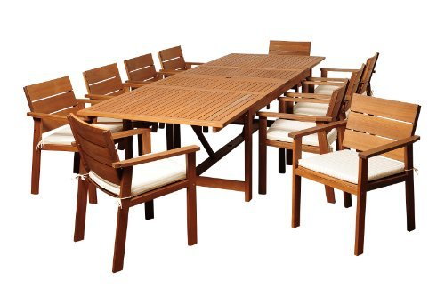 Amazonia- Colony 11-Piece Eucalyptus Extendable Rectangular Dining Set