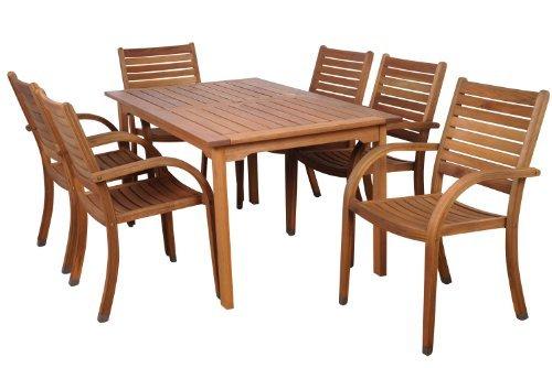 Amazonia-Amazonia Arizona 7-Piece Eucalyptus Rectangular Dining Set