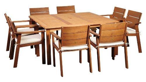 Amazonia-9-Piece Nelson Eucalyptus Square Dining Set
