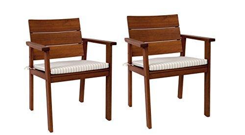 Amazonia-2-Piece Nelson Eucalyptus Easy Carver Chair Set with Cushions