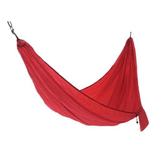 NOVICA-Parachute Hammock in Red with Hanging Accessories - Uluwatu Red