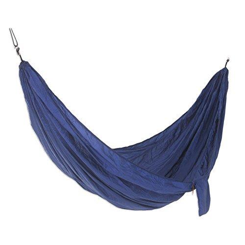NOVICA-Parachute Hammock with Hook Rope Included - Uluwatu Navy Blue